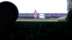Silhouette of a football player leaving the field of the stadium Stock Footage