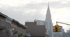 New York City neighborhood and skyline - 4k Stock Footage