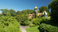 4K Hundredwasserhaus Grugapark Park Essen NRW Germany Europe Stock Footage