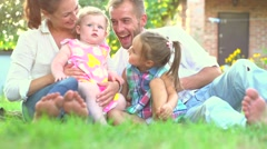 Happy smiling big family with children having fun outdoors. Stock Footage