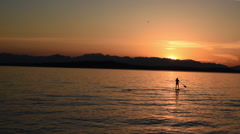 Standup Paddle Sunset Stock Footage
