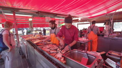 Seafood in Torget fish market - Bergen, Norway Stock Footage