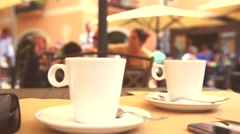 Coffee in cafe. Lunch on the terrace outside. Stock Footage