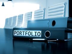 Portfolio on Ring Binder. Blurred Image. 3D Rendering Stock Illustration