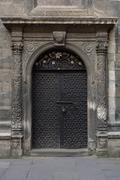 Ancient iron door with fluted columns patterned fretwork Stock Photos