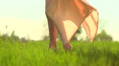 Beautiful Girl in long chiffon dress enjoying nature on a spring field. Stock Footage