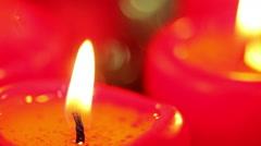Burning Christmas candles. Macro background Stock Footage