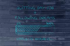 Quitting day job following dreams progress bar loading Stock Illustration