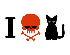 I hate cats. Skull symbol of hatred and pets. Logo for allergy sufferers and  Stock Illustration