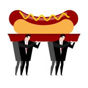 Funeral hot dog. Fast food is carried in coffin. burial of junk food. Illustr Piirros
