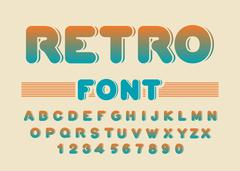 Retro font. Vintage rounded alphabet. Disco alphabet. Letters from 80s. Hipst Stock Illustration