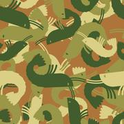 Military texture shrimp. plankton Army seamless pattern. Protective camouflag Stock Illustration