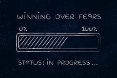Winning over fears progress bar loading Stock Illustration