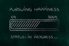 Pursuing happiness progress bar loading Stock Illustration