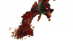 Orange fluid stream in motion. in slow motion. oil Stock Footage