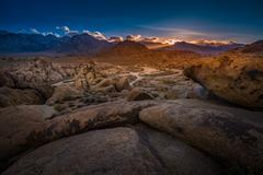 Alabama Hills at Sunset Mt Whitney in the Background Stock Photos