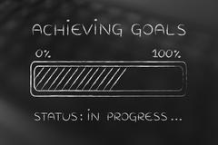 Achieving goals progress bar loading Stock Illustration