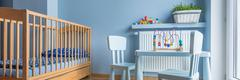 Baby room in light blue Stock Photos
