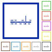 Radio tuner framed flat icons Stock Illustration