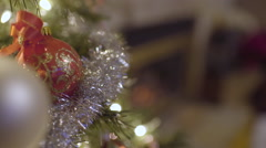 Closeup Of Ornaments On Christmas Tree Stock Footage