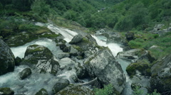 River, waterfall and mountains landscape - wild scenery, Norway Stock Footage