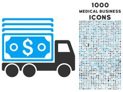 Cash Lorry Icon with 1000 Medical Business Icons Stock Illustration