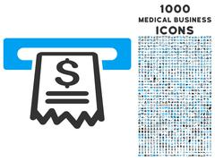 Cashier Receipt Icon with 1000 Medical Business Icons Stock Illustration