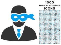 Masked Thief Icon with 1000 Medical Business Icons Stock Illustration