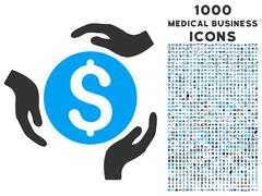 Money Care Hands Icon with 1000 Medical Business Icons Stock Illustration