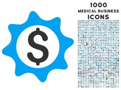 Money Seal Icon with 1000 Medical Business Icons Stock Illustration