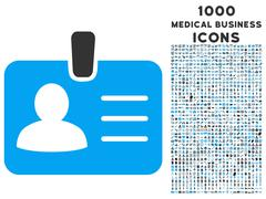 Person Badge Icon with 1000 Medical Business Icons Stock Illustration