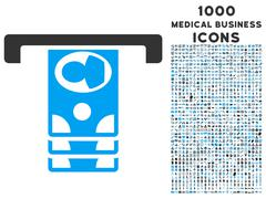 Withdraw Banknotes Icon with 1000 Medical Business Icons Stock Illustration