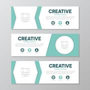 Turquoise corporate business banner template, horizontal advertising business Piirros
