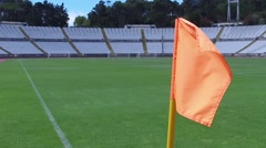 Flag corner stadium soccer football field turf steady shot gimbal slowmotion Stock Footage