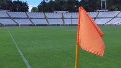 Flag corner stadium soccer football field turf steady shot gimbal Stock Footage