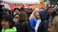 A crowd of people at the fair Stock Footage
