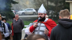 Man in the costume of the hero Stock Footage