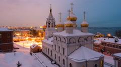 Nizhny Novgorod Church at night Stock Footage