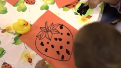 Kindergarten kids drawing Stock Footage