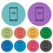 Color cellphone wireless network flat icons Stock Illustration