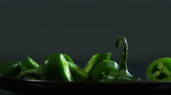 Closeup of tomatoes and jalapenos Stock Footage