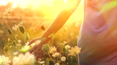 Beautiful young woman walking on field with wildflowers, enjoying nature outdoor Stock Footage