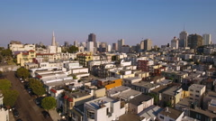 Drone Fly over San Francisco city skyline houses downtown Stock Footage