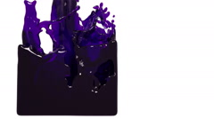 Purple paint flow fills up a container slowly. oil Stock Footage