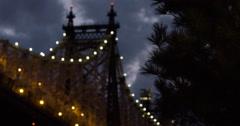Queensboro Bridge - night - establishing shot - summer - 4k Stock Footage
