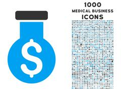 Alchemy Icon with 1000 Medical Business Icons Stock Illustration