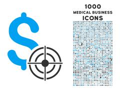Business Target Icon with 1000 Medical Business Icons Stock Illustration