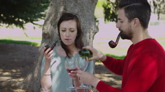 Couple smoking pipe in park and drinking wine Stock Footage