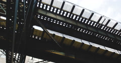 Subway overpass, looking up New York City - 4k Stock Footage
