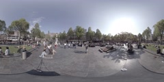 360 video view of Rembrandt Square in Amsterdam Holland Stock Footage